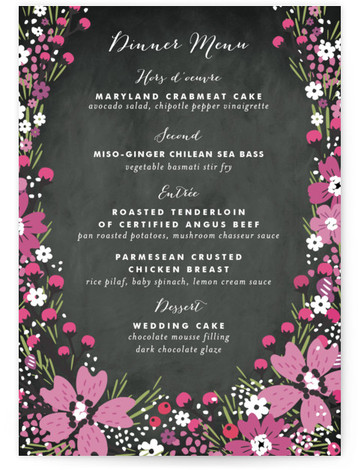 This is a portrait floral, purple Menus by Kristie Kern called Wildflower Bouquet with Standard printing on Signature in Classic Flat Card format. Abundant wildflowers form a lovely frame around wedding details.