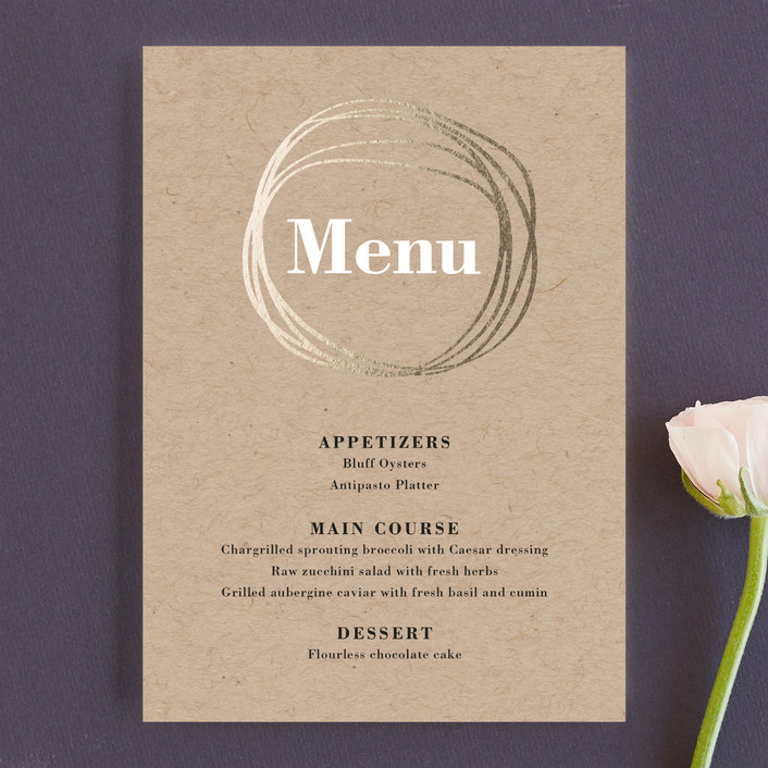 """The Big Day"" - Modern, Abstract Menu Cards in Golden by R studio."