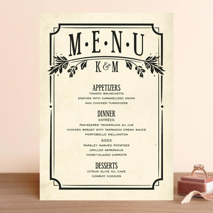 """Inked"" - Hand Drawn, Bold typographic Menu Cards in Parchment by GeekInk Design."