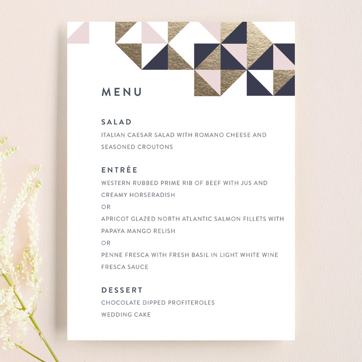 """Lovely Geo"" - Menu Cards in Midnight by Ana Sharpe."