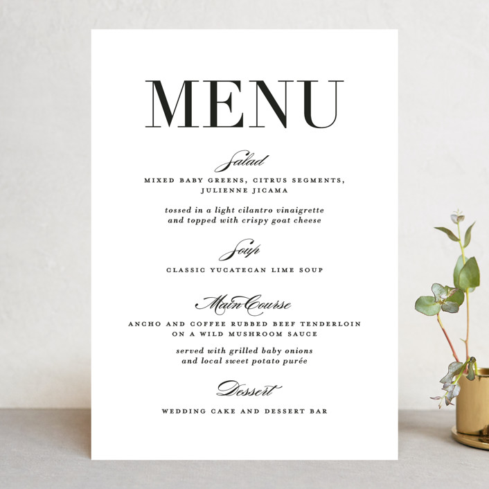 """Classic"" - Menu Cards in Tuxedo by Lauren Chism."