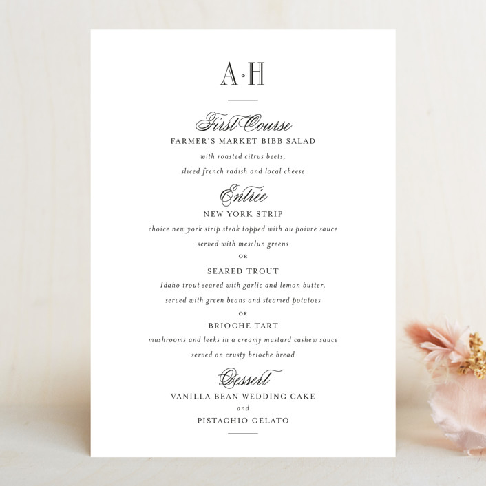 """Hepburn"" - Preppy Menu Cards in Tuxedo by Toast & Laurel."