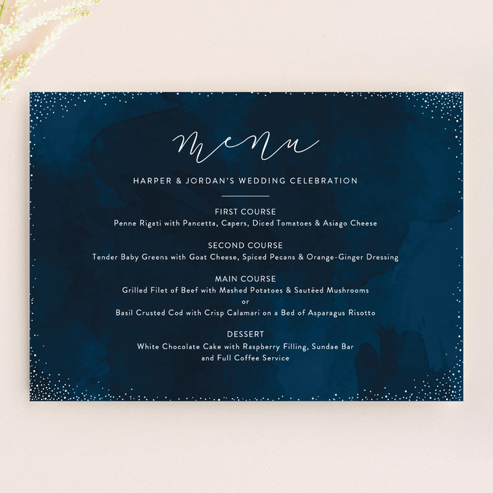 """tiny dots"" - Menu Cards in Sapphire by Erin Deegan."
