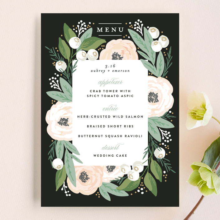 """""""Blooming Bouquet"""" - Menu Cards in Charcoal by Alethea and Ruth."""