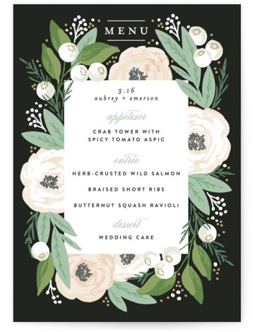 This is a portrait grey Menus by Alethea and Ruth called Blooming Bouquet with Standard printing on Signature in Classic Flat Card format. Give guests a sneak peek of the meal to come with these unique menus. All menus can ...