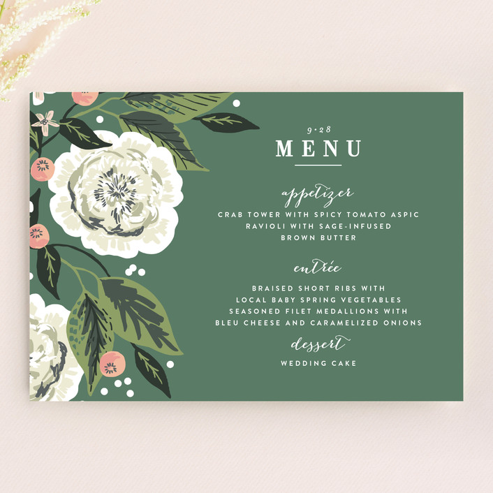 """Climbing Rose"" - Menu Cards in Leaf by Alethea and Ruth."