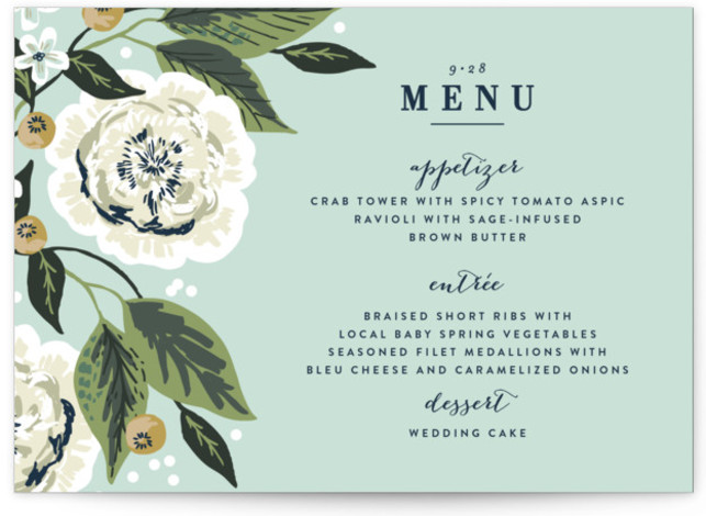 This is a landscape blue Menus by Alethea and Ruth called Climbing Rose with Standard printing on Signature in Classic Flat Card format. Give guests a sneak peek of the meal to come with these unique menus. All menus can ...