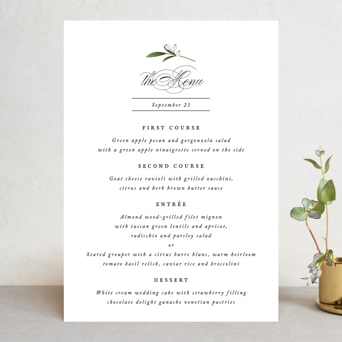 """Adorned Ampersand"" - Menu Cards in Cotton by Jennifer Postorino."