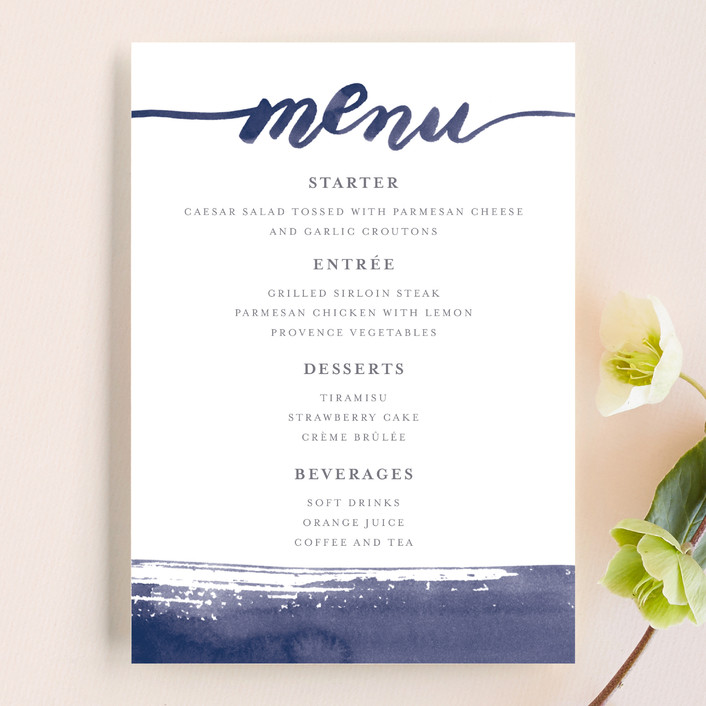 """Love"" - Menu Cards in Navy by Four Wet Feet Studio."