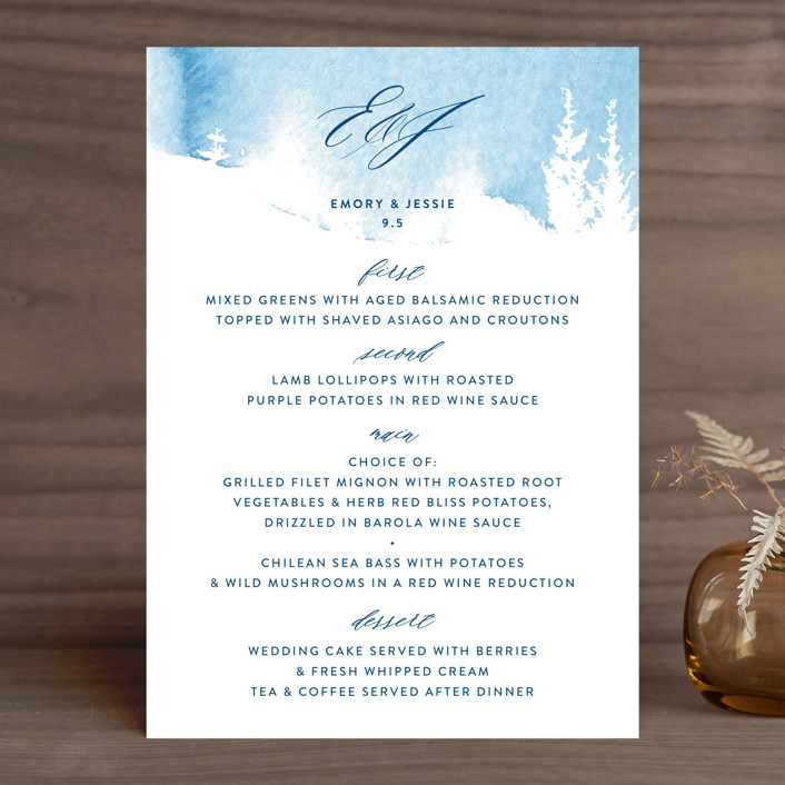 """misty forest"" - Menu Cards in Navy by Ariel Rutland."