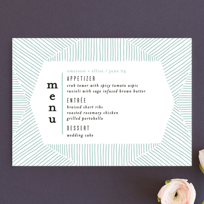 """""""Mod Lines"""" - Menu Cards in Sea by Alethea and Ruth."""