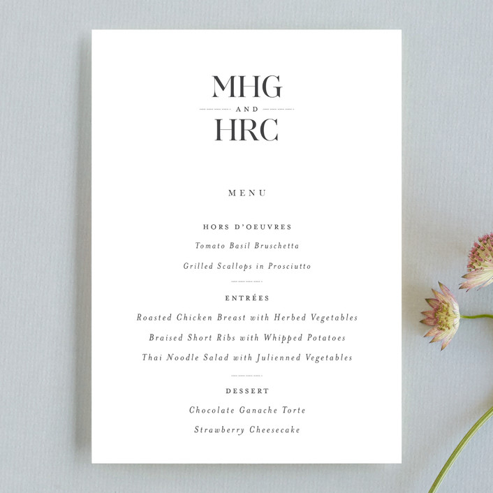 """""""instilled"""" - Menu Cards in Pearl by Design Lotus."""