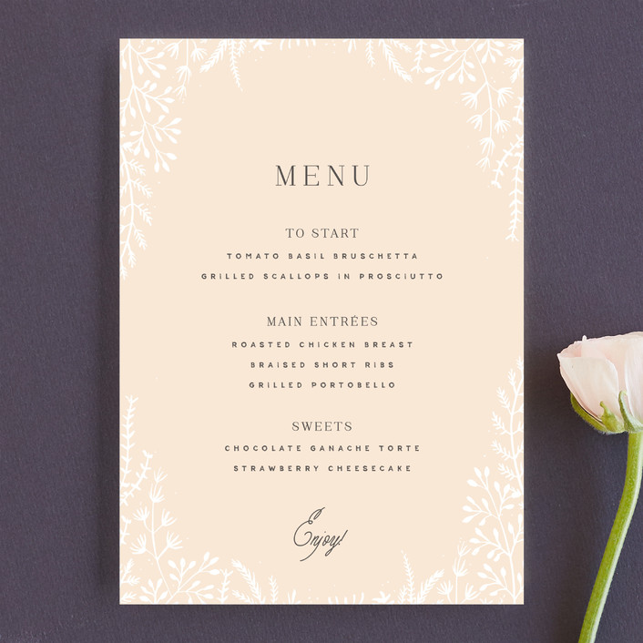 """""""Wild and Free"""" - Menu Cards in Ballet Slipper by Design Lotus."""