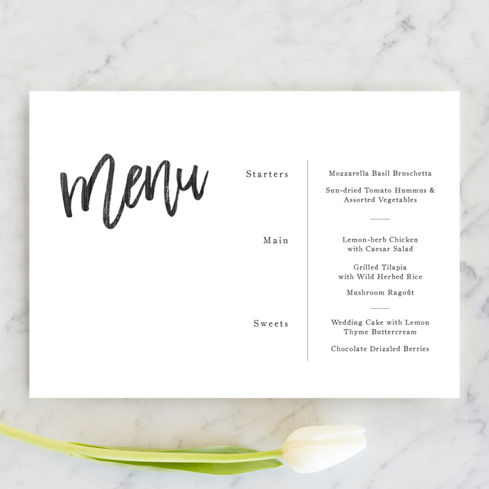"""""""blithe"""" - Menu Cards in Charcoal by Design Lotus."""