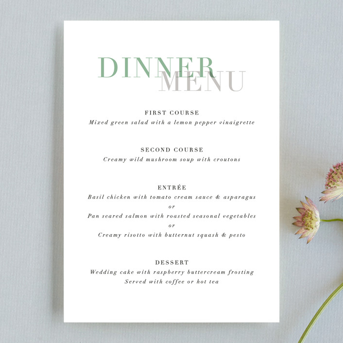 """""""Bacall"""" - Menu Cards in Coral by carly reed walker."""