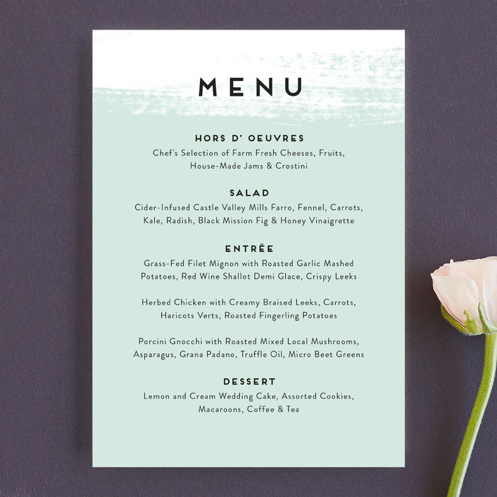 """""""Museum quality"""" - Menu Cards in Teal by Jennifer Wick."""