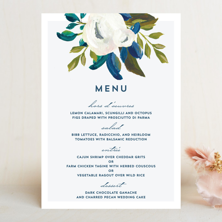 """Our Something Blue"" - Menu Cards in Ocean by AK Graphics."