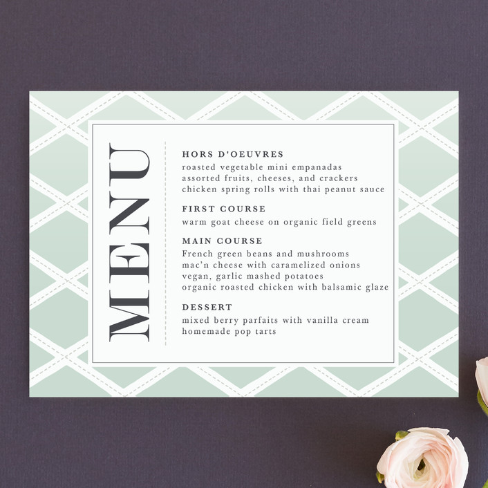 """""""Bold Lattice"""" - Menu Cards in Mint by Griffinbell Paper Co.."""