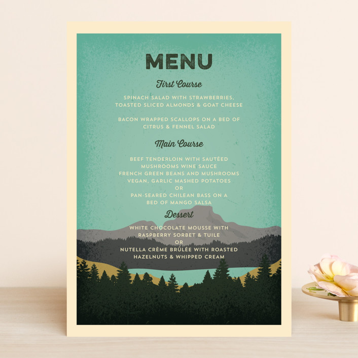 """""""Mountain View"""" - Menu Cards in Forest by Coco and Ellie Design."""