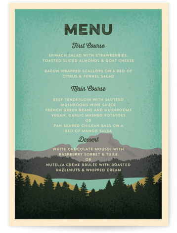 This is a portrait green Menus by Coco and Ellie Design called Mountain View with Standard printing on Signature in Classic Flat Card format. Give guests a sneak peek of the meal to come with these unique menus. All menus ...