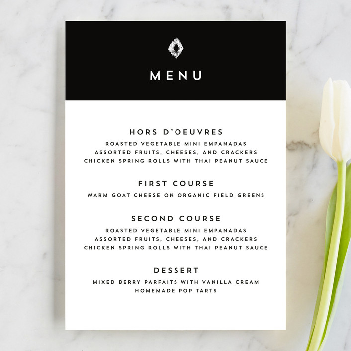 """""""Elan"""" - Menu Cards in Tuxedo by Griffinbell Paper Co.."""