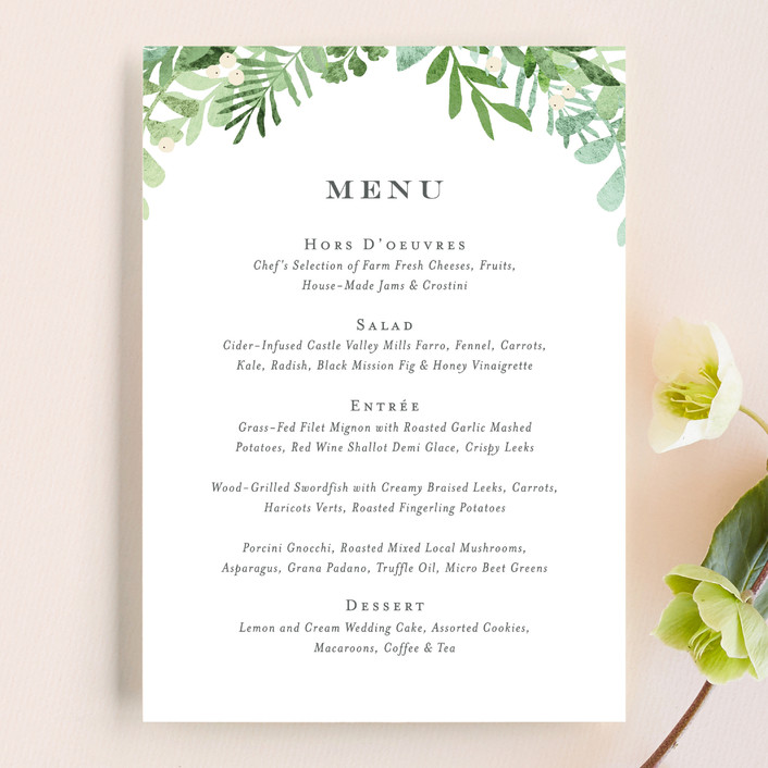 """Leafy ampersand"" - Menu Cards in Mint Leaf by Jennifer Wick."
