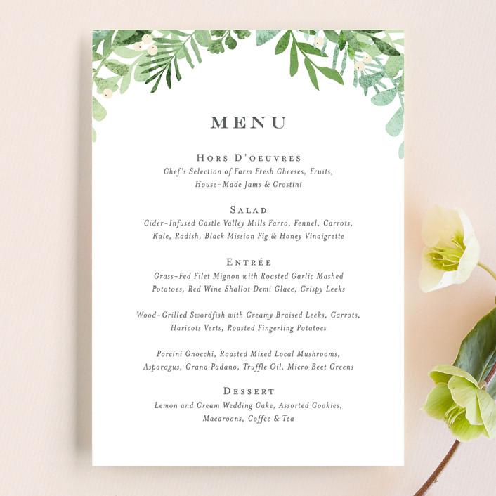 """""""Leafy ampersand"""" - Menu Cards in Mint Leaf by Jennifer Wick."""