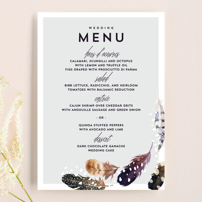 """Feather Flurry"" - Menu Cards in Slate by AK Graphics."