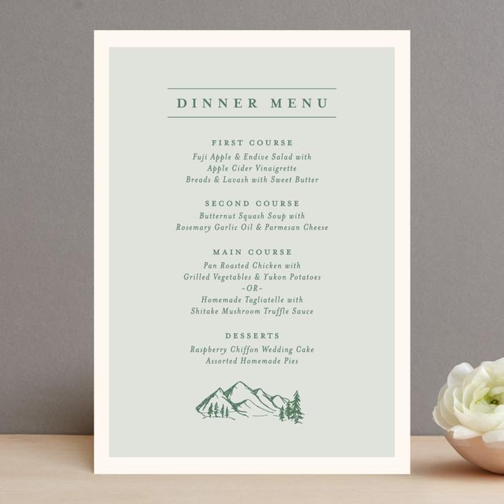 """""""Blue Ridge"""" - Menu Cards in Pine by Amy Kross."""