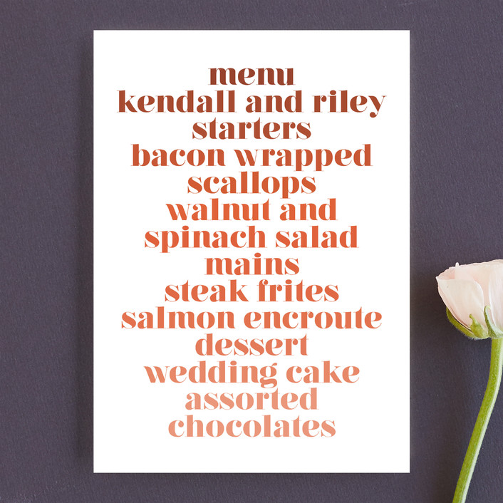"""Rainbow Roll"" - Menu Cards in Coral by Katharine Watson."