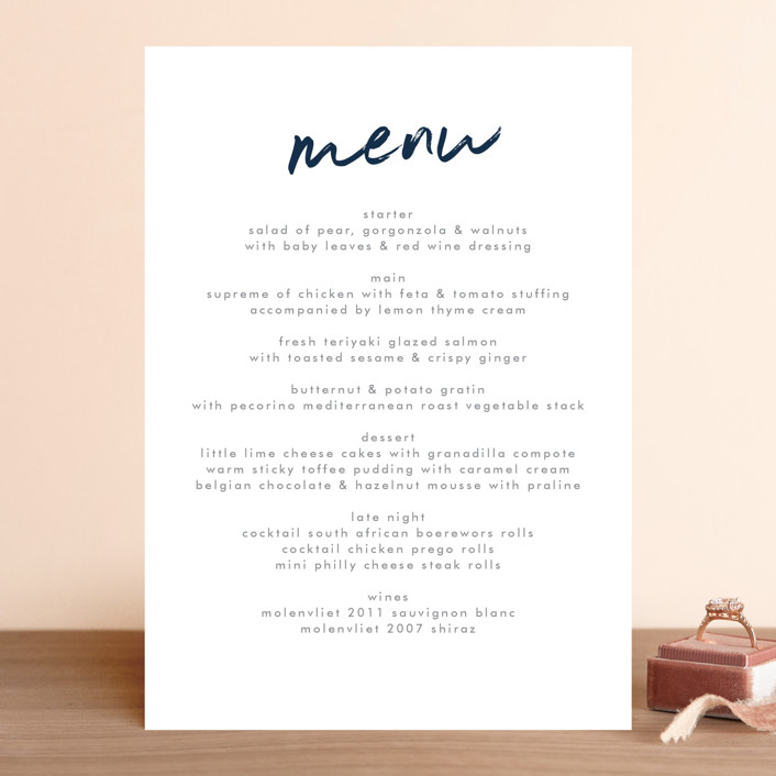 """Funky Names"" - Menu Cards in Navy by Phrosne Ras."