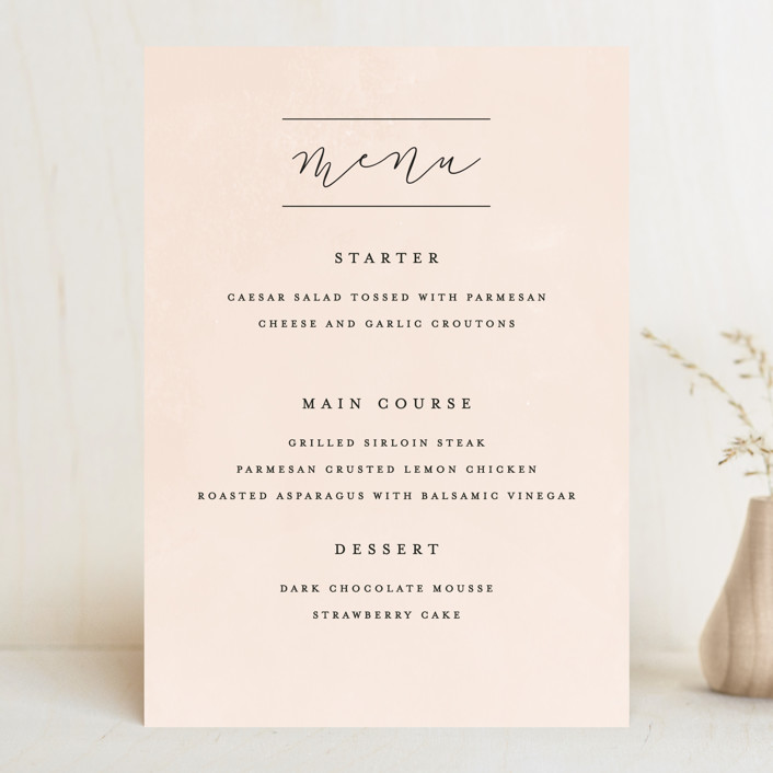 """""""Simply Perfect"""" - Menu Cards in Blush by peony papeterie."""