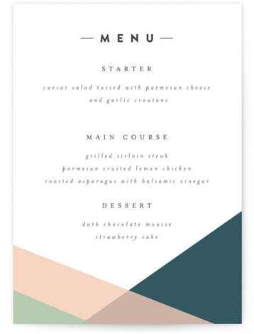 This is a portrait blue, green, pink Menus by peony papeterie called Simply Abstract with Standard printing on Signature in Classic Flat Card format. Give guests a sneak peek of the meal to come with these unique menus. All menus ...