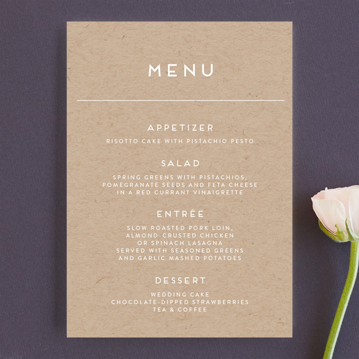 """Modern Stamp"" - Menu Cards in Kraft by seulghi."