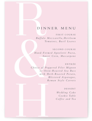 This is a bold and typographic, pink Menus by Lea Delaveris called over and over with Standard printing on Signature in Classic Flat Card format. This simple yet elegant design is type driven, featuring the bride's and groom's initials and ...