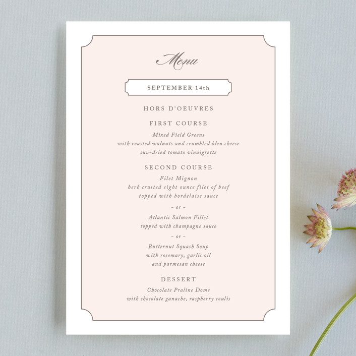 """Subtly Sweet"" - Menu Cards in Pale Pink by Kimberly FitzSimons."