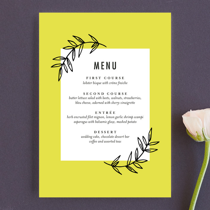 """minimally chic"" - Menu Cards in Lemon by lena barakat."