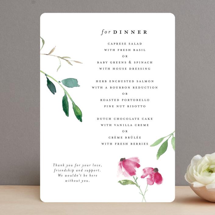 """""""Spring Wildflowers"""" - Menu Cards in Pink Floral by Mere Paper."""
