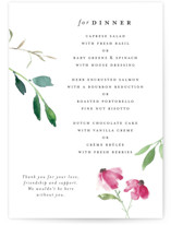 This is a white menu card by Mere Paper called Spring Wildflowers with standard printing on signature in standard.