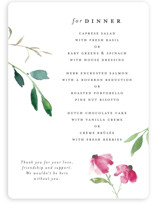 This is a pink menu card by Mere Paper called Spring Wildflowers with standard printing on signature in standard.