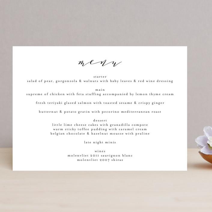 """Simple Elegance"" - Menu Cards in Tuxedo by Phrosne Ras."