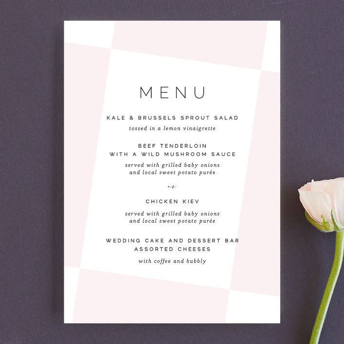 """Tilt"" - Menu Cards in Blush by Lauren Chism."