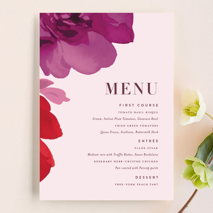 """Centifolia Rose"" - Menu Cards in Velvet by kelli hall."