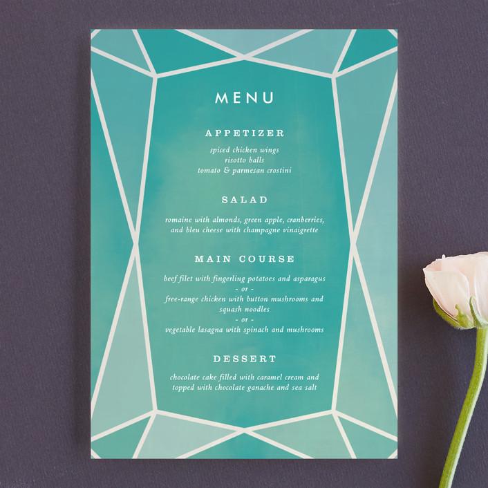"""Radiant Cut"" - Menu Cards in Aquamarine by Up Up Creative."