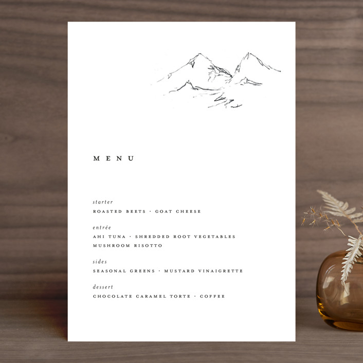 """Sketched Mountains"" - Menu Cards in Snow by Nikkol Christiansen."