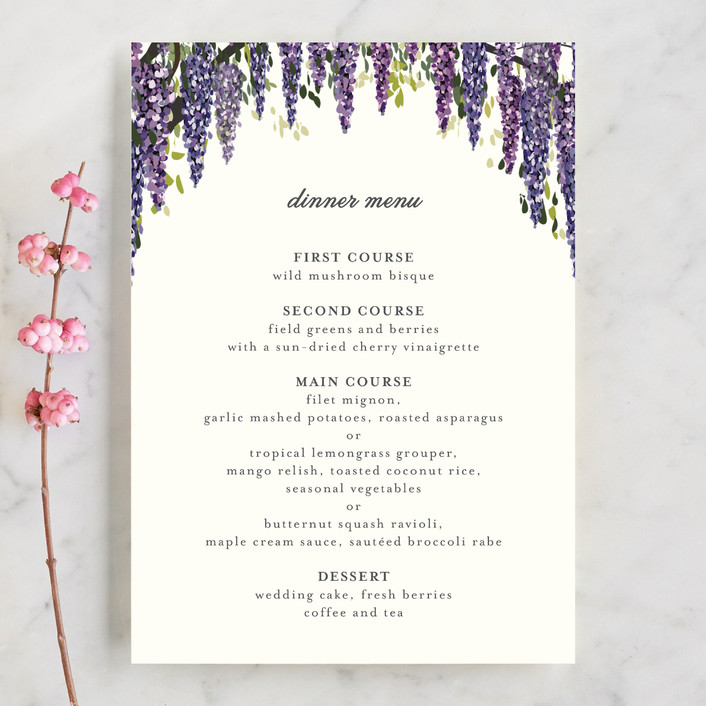 """Wisteria Blooms"" - Menu Cards in Grape by Susan Moyal."