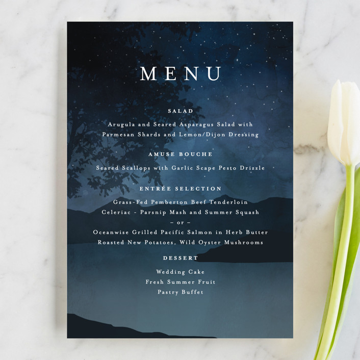 """Coastal Nights"" - Menu Cards in Midnight by Kelly Schmidt."