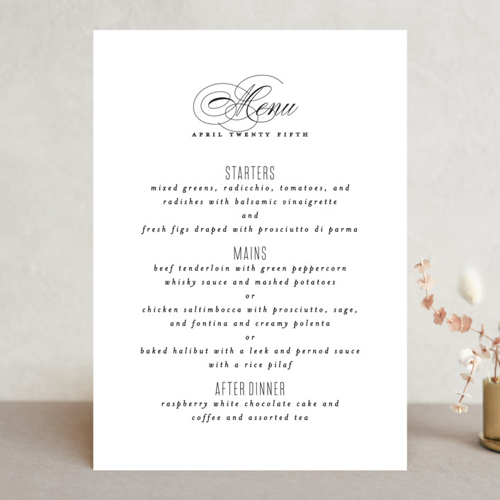 """Scripted Ampersand"" - Menu Cards in Classic by Roxy Cervantes."