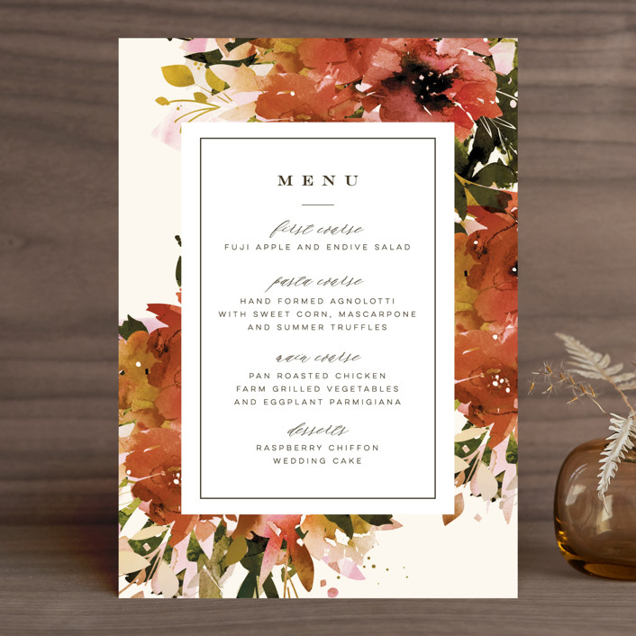 """""""Eden"""" - Menu Cards in Poinsettia by Lori Wemple."""