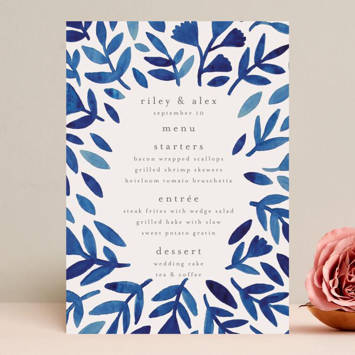 """""""Wildflower Floral"""" - Menu Cards in Navy by Katharine Watson."""